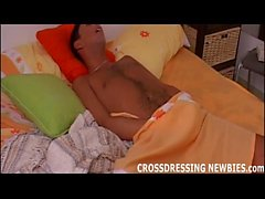 Crossdressing and jerking off in front of a mirror
