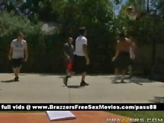 Horny brunette chick looks at guys who play basketball