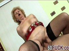 Blonde granny fishnet stockings masturbation cowgirl