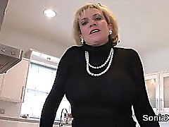 Cheating british mature lady sonia pops out her huge boobies