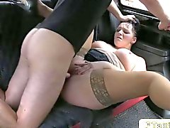 British BBW anal fucks in a fake taxi