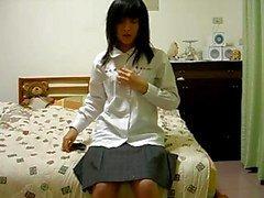 harige Chinees meisje op cam