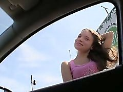 Horny amateur girl screwed up at the backseat in public