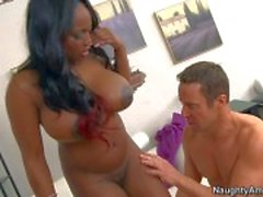 Big titted black woman Jada Fire loves White dick