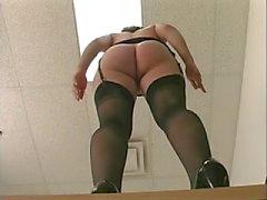 Frisky office slut in stockings gets fucked by long dildo