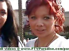 Rita en Madeline hete brunette lesbiennes openbare knipperen tieten