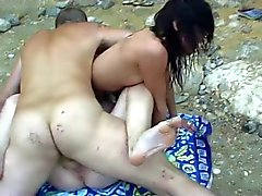 Trio op het strand