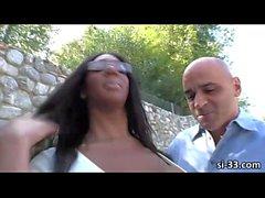 Curvy black tgirl hooker Paris Pirelli ass ripped and jizzed