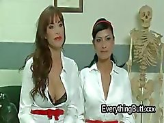 Three nurses anal fuck with strapon dildo