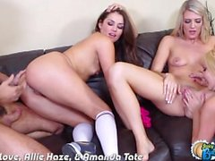 Sexy assed Aaliyah Love, Allie Haze e Amanda Tate fodendo
