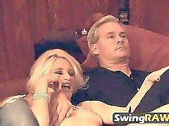 Gerrit and Beth kiss and fuck in hot swinger orgies