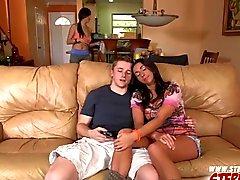 Stephani rocks BFs cock with stepmom