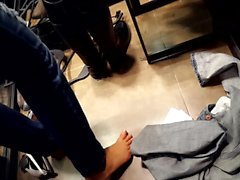 GF's cute bare feet, in fitting room2