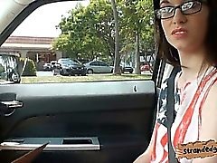 Nerdy amateur teen girl Tali Dava banged in the backseat
