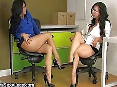 Sexy brunette babes get horny showing