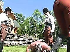 Extreme outdoor dominatrix babes bizarre balls busting fetish