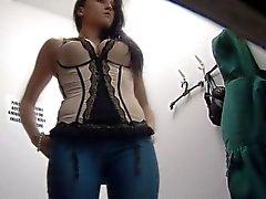 Tcheca Brunette que adolescente que Espiado Com Segurança da Came