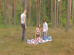 Les trio Allemagne d'amateur en forêt