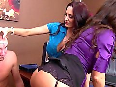 Femdom Ava Addams punishes cock with BFF