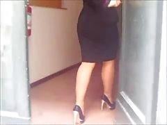 delle calze moglie a lavoro