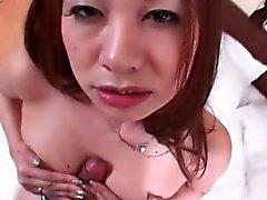 Calientes asiática adolescente de universitario dando Masturbación con la mano y el cogida tetas