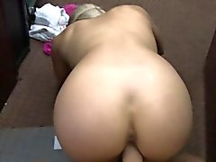 Curvy amateur babe banged by pawn dude in the backroom