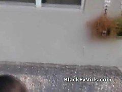 Black girlfriend strips to suck dick