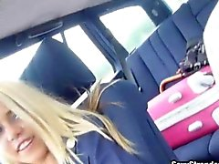 Blonde stewardess Christen Courtney pounded in a strangers car