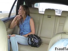 Cute passenger drilled by fraud driver in the backseat