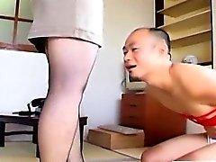 Japanese milf in pantyhose feet teasing with subtitles