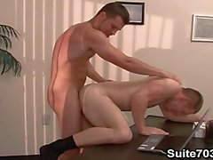 Gays Spencer and Trent fucking in the office only on Suite703