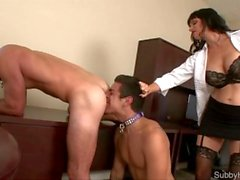Boss makes her employees blow each other and share a double ended dildo