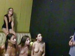 Girls strip down on a big tub n dyke out