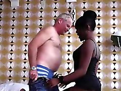 Amateur dude does oral with black European hooker