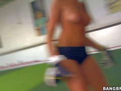 Breanne Benson strips and sucks footballer s cock