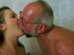 Grandpa and hairy girl pissing and fucking