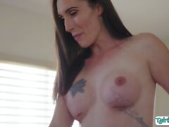 Stepson throated and analed his horny shemale stepmother