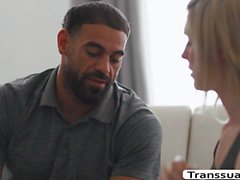 Stepdad licks and fucks the tight ass of his TS stepdaughter