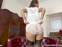 Sexy brunette Jess West strips white lingerie and wanks in nylons and heels