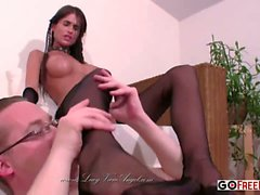 Nessa Devil Black Nylon Footjob