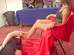 lesbian foot slave worship mistress feet in public