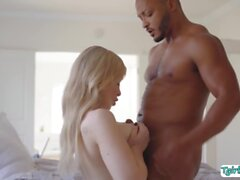 Busty shemale lets her new black stepbro fuck her wet ass