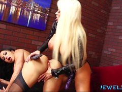 Jewels Jade gets strap on fucked hard by Nikita Von James