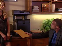 Jessica Drake gives throat job at the office