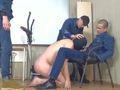 3 russian masters in jeans and slave