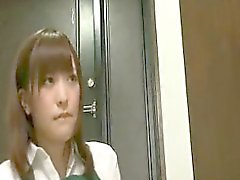 Sexy slender Japanese cutie takes a nerdy guy's hard dick f