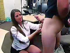 Amateur MILF sucking cock in office for cash on spy cam