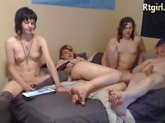 Foursome shemales gangbang full of cock sucking and anal fuck