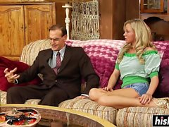 Bree Olson plays around with his dick