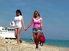 Carol Goldnerova and Adrianne Black beach fun